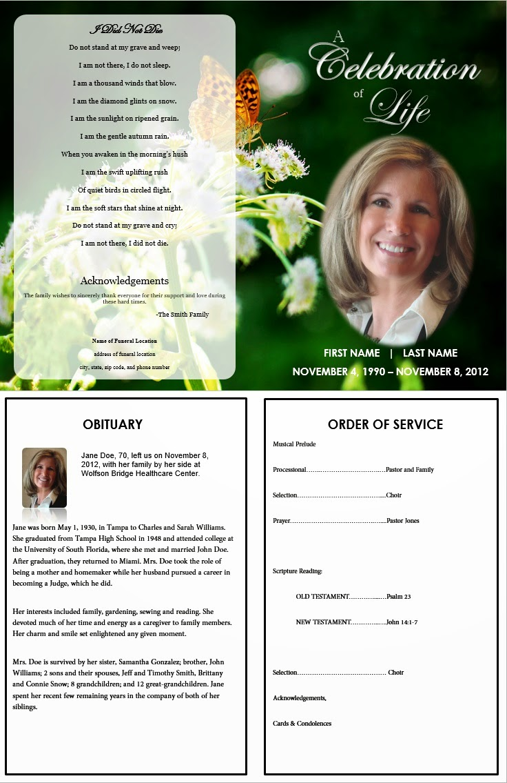 Funeral Program Template At FuneralPamphlets.com  Free Funeral Programs Downloads
