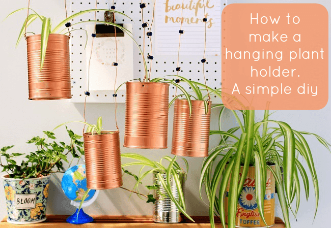 how to make a hanging planter from baked bean cans