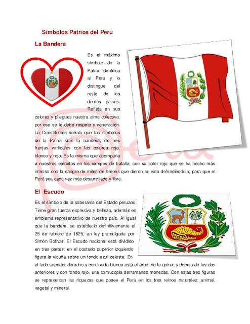 Símbolos patrios de Perú para niños