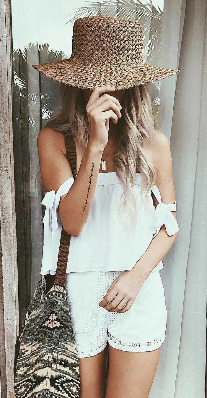 boho style addict: hat + top + shorts + bag