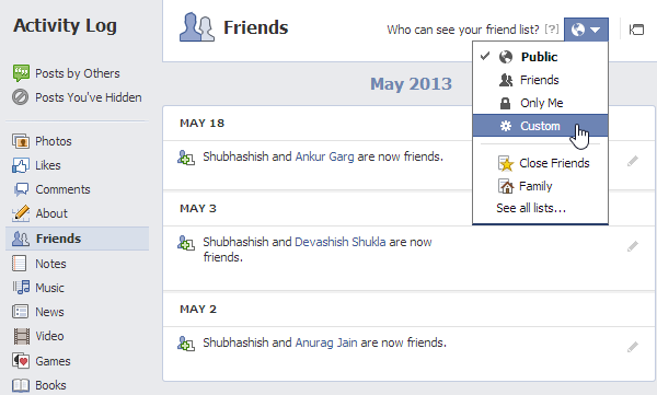hide your Facebook friend list from other users