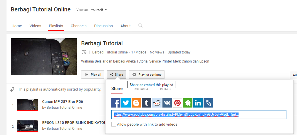 Cara Mendapatkan Playlist ID Video Channel Youtube