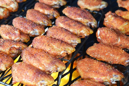 Chicken wings on a smoker