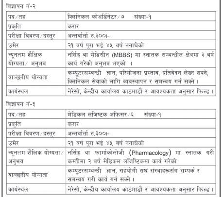 Health jobs vacancy at Nepal Redcross ociety
