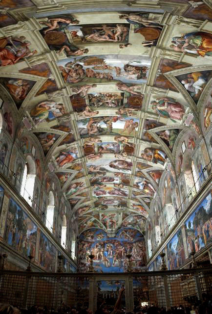 The Sistine Chapel in the Vatican in Rome and Michelangelo's magnificent ceiling. Photo: Patrick Landy via WikiMedia.org.