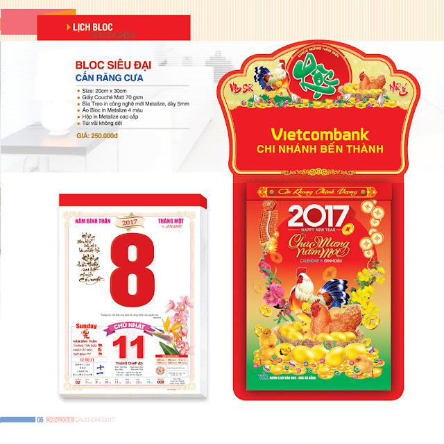 Mẫu lịch Bloc thị trường năm 2017