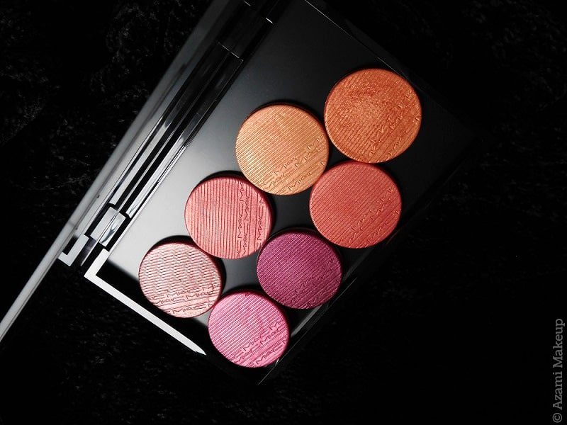 M.A.C. Cosmetics | Extra Dimension Blushes Palette - Just Pinched - Telling Glow - Sweets for my Sweet - Rosy Cheeks - Faux Sure - Cheeky Bits - Wrapped Candy Review & Swatches - Highlighting blush - Hushed Tone - Fairly Precious - Hard to Get - Into the Pink - Avis