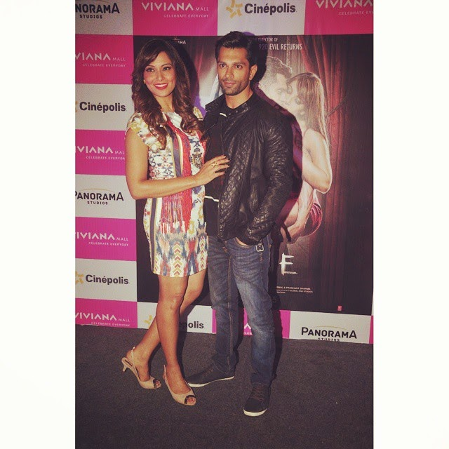 bipasha basu and karan singh grover , at viviana mall, thane for the promotions of alone ,. 