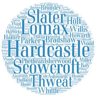 Surnames: Slater, Lomax, Hardcastle, Scowcroft, Thweat