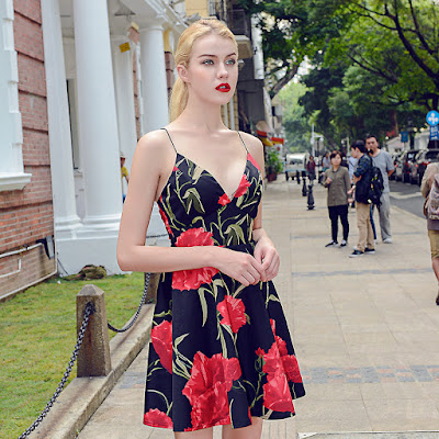 Fashion Floral Printed Cocktail Dress