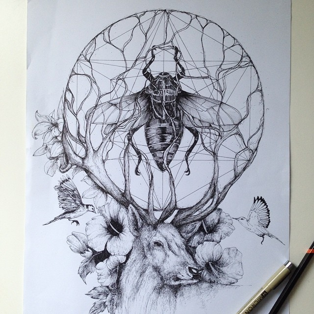 10-The Scarab and the Stag-Alfred-Basha-The-World-of-the-Mind-Expressed-in-Drawings-www-designstack-co