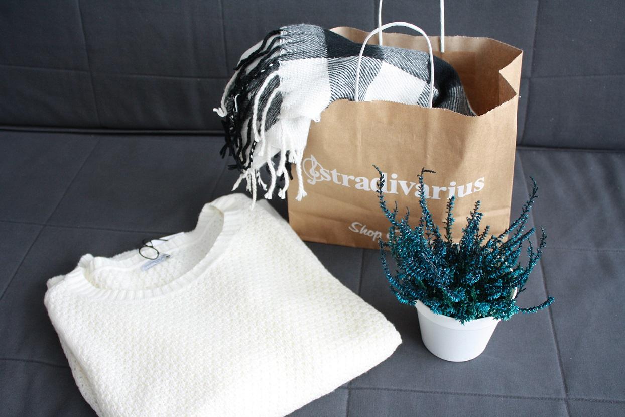 szal, sweter, wrzos, indygo, stradivarius, only, zakupy, blog