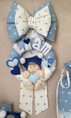 fiocco nascita maschietto cuori azzurri