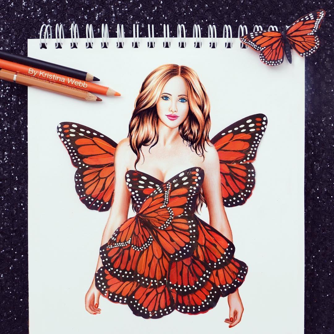 08-New-Dress-Kristina-Webb-colour-me-creative-Drawings-Exploring-a-Range-Different-Techniques-www-designstack-co