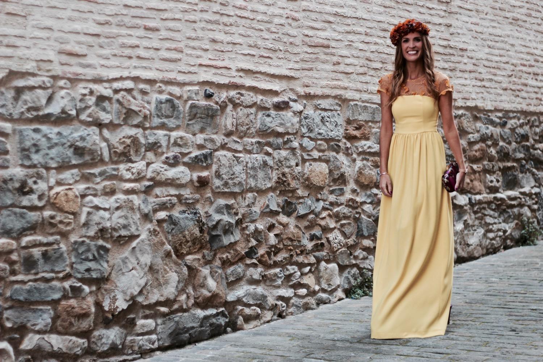 vestido largo amarillo fiesta