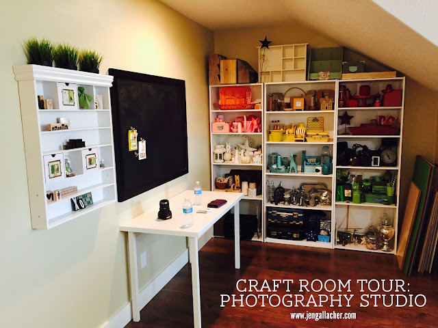 Craft Room Tour: Photography Studio www.jengallacher.com #craftroom #photographystudio #photographyprops