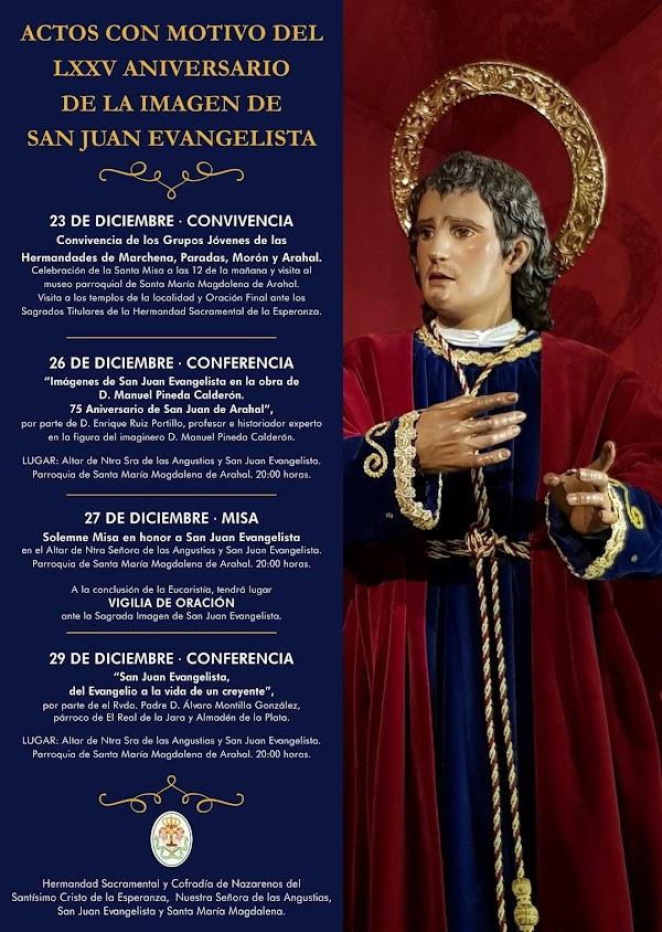 Actos por el LXXV Aniversario de la imagen de San Juan Evangelista de la Hdad. de la Esperanza de Arahal