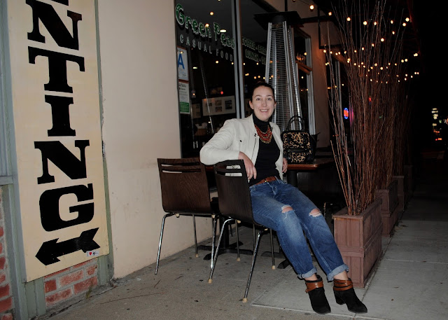 style, Samantha Chic, Gap, Forever 21, H&M, HM, Target, leather jacket, white leather, Audrey Hepburn, back turtleneck, ankle boots, booties, fashion booties, boyfriend jeans, statement necklace, Culver City, Green Peas Casual Food, Los Angeles