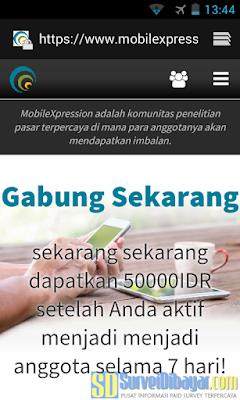 Bukalah website MobileXpression melalui browser | SurveiDibayar.com