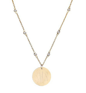 engraved gold disc with CZ chain necklace