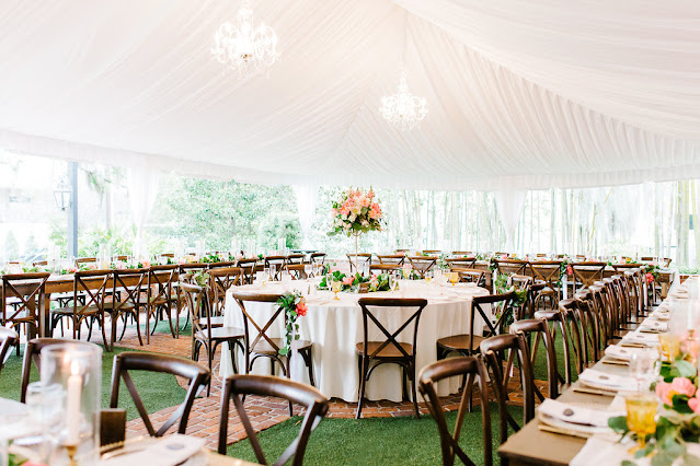 chic and pink wedding reception tables