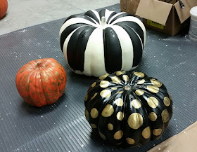 painted black and white stripe pumpkin