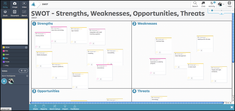 Stormoboard Herramienta online para hacer lluvias de ideas 2.0 e intercambiar opiniones sobre un tablero virtual. La versión gratuita permite trabajar con grupos de hasta cinco usuarios.