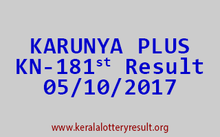 KARUNYA PLUS Lottery KN 181 Results 5-10-2017