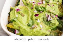 Low carb/Whole30 Enchiladas with Poblano-Pork Stuffing & Creamy-Avocado Sauce