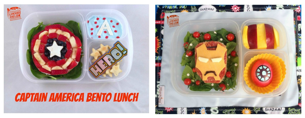 Captain America and Iron Man bento lunches