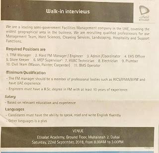 يوم توظيف مفتوح للعمل بمجموعة اتصالات في الامارات 22 سبتمبر 2018