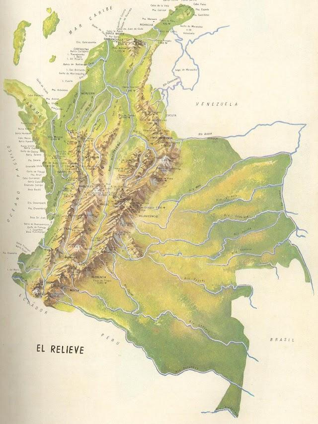 Mapa físico de Colombia - relieve - cordilleras