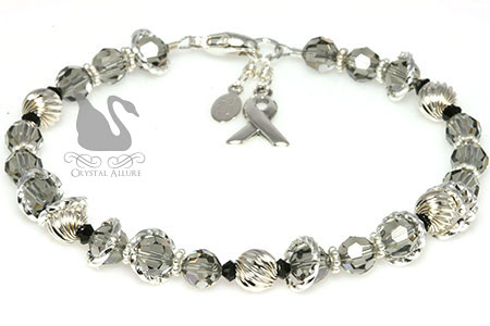 Black Diamond Crystal Asthma Awareness Bracelet (B079)