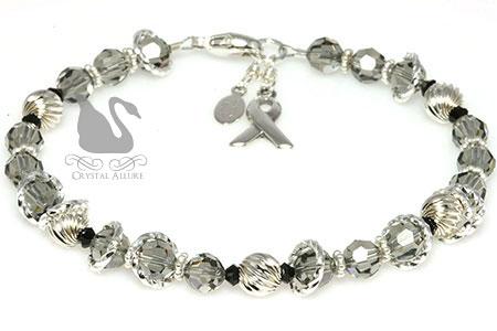 Black Diamond Crystal Asthma Awareness Bracelet (B079)