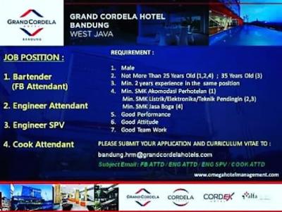 lowongan kerja hotel grand cordela bandung terbaru 2020