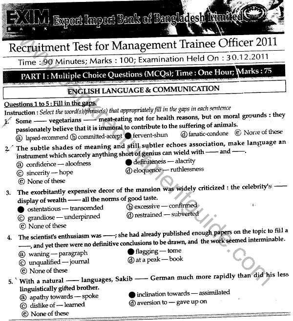 EXIM Bank Recruitment Test Answers for Management Trainee