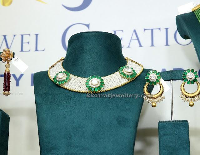 Emerald Diamond Fancy Choker with Chandbalis