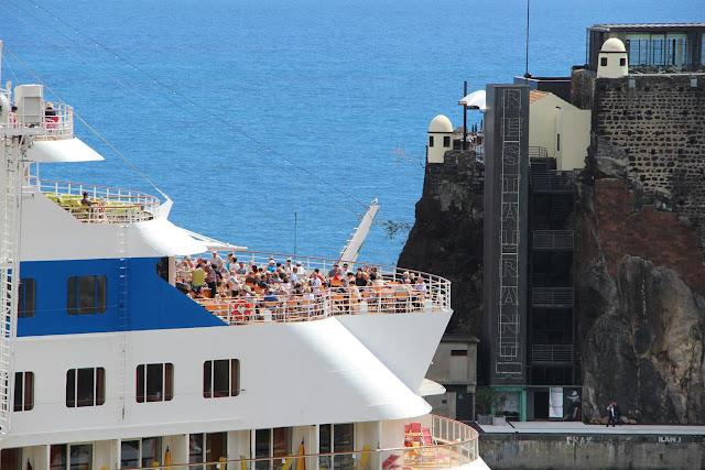 sunbathing on the ship's terrace