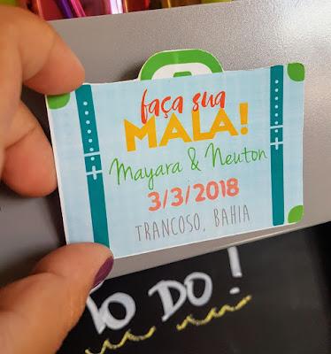 save the date, ímã de geladeira, mala, viagem, destination wedding