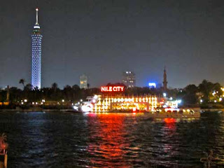 Cairo Tower and Nile City Boat Night Nile River Egypt