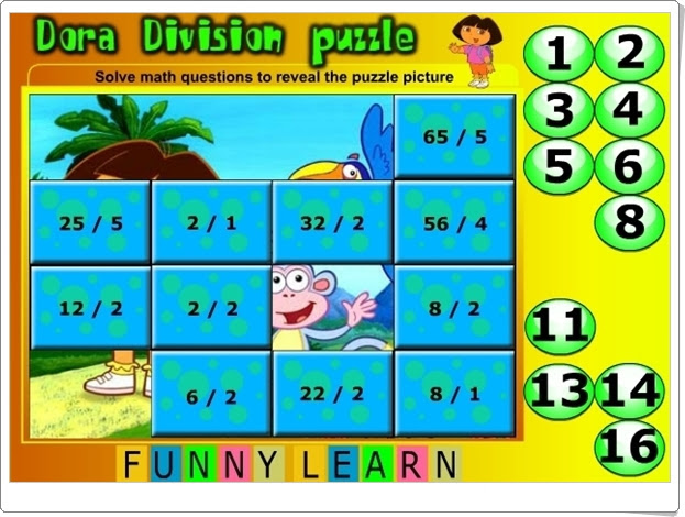 http://www.funnylearn.com/Dora-Division-Fractions--Math-.html