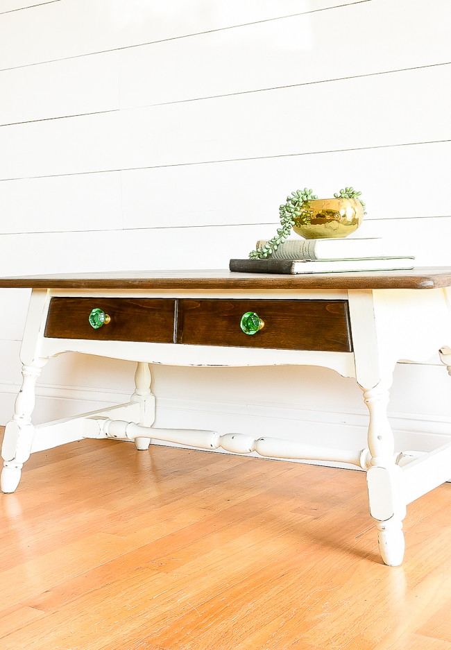Refinished two tone coffee table