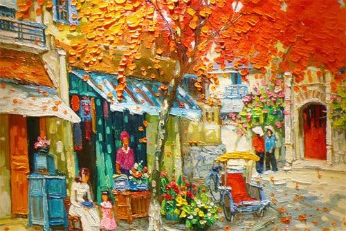 Vista de Hanói - Pinturas do vietnamita Lam Duc Manh