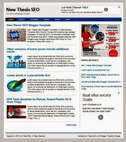 New Thesis SEO Blogger Template 2014