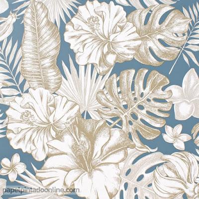 papel pintado tropical fondo azul hojas beige