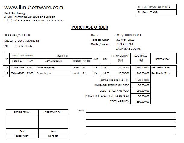 Contoh Po Purchase Order Dan Cara Membuatnya Kumpulan