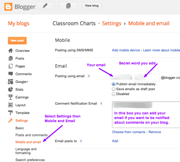 Publish to a blog by email