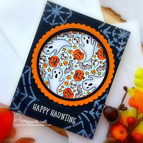 Happy Haunting Halloween Card by Maria Russell | Spooky Roundabout Stamp Set, Circle Frames Die Set and Spiderweb Stencil by Newton's Nook Designs #newtonsnook #handmade