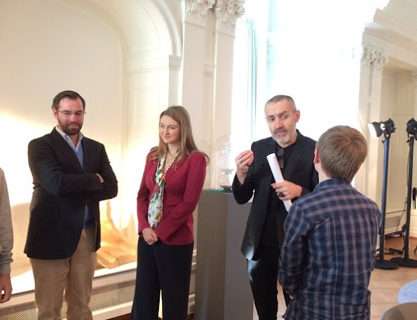 "Hereditary Grand Duke Guillaume and Hereditary Grand Duchess Stéphanie of Luxembourg visited ""De Mains de Maître"" exhibition"