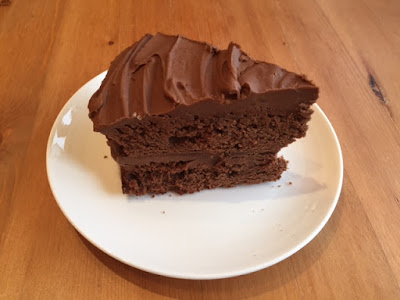 Easy Chocolate Fudge Cake slice on a plate